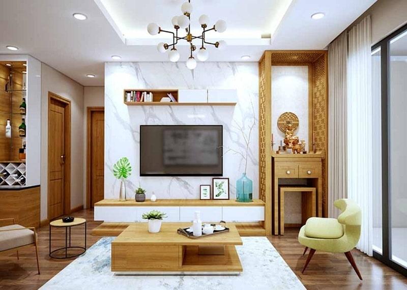 3 kiểu thiết kế phòng khách kết hợp với bàn thờ
