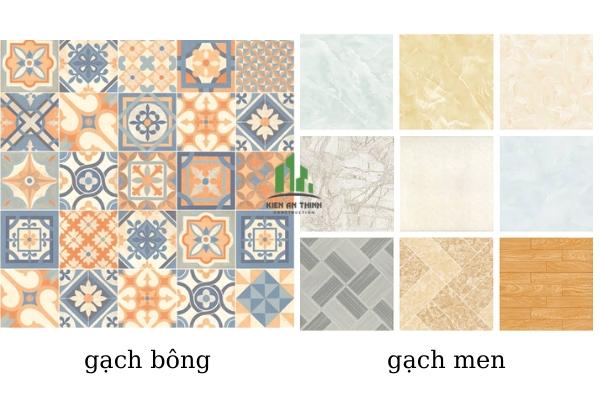 Sự khác biệt giữa gạch bông và gạch men